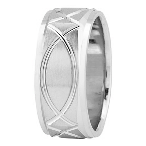 9mm Square Engraved Men's Wedding Ring in Platinum