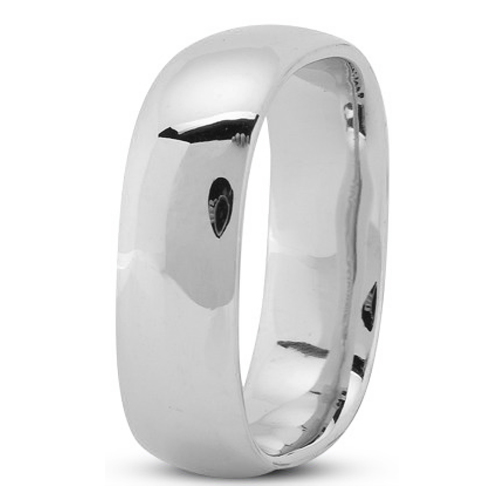 7mm Square Comfort Fit Men's Wedding Ring in White Gold