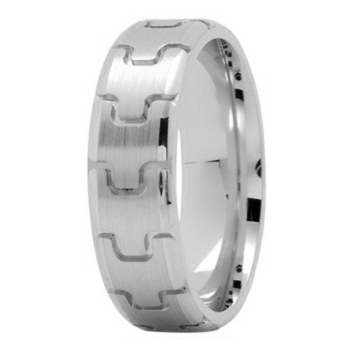 6.5mm Puzzle Men's Wedding Ring in White Gold
