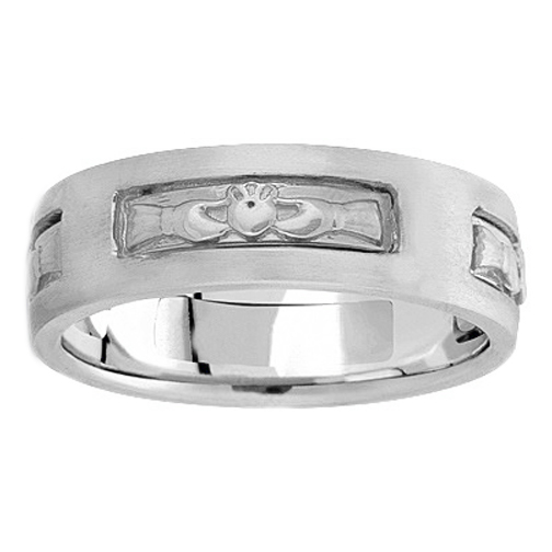 Men's Claddagh Wedding Ring 7 mm Platinum