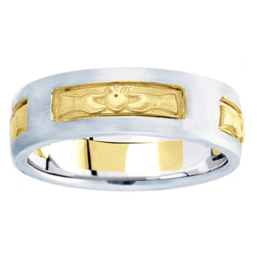 Men's Claddagh Wedding Ring 7 mm 14K White and Yellow Gold