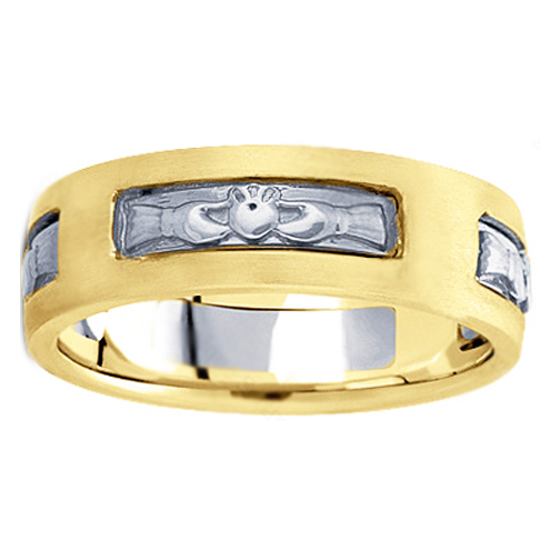 Men's Claddagh Wedding Ring 7 mm 18K Two Tone Gold