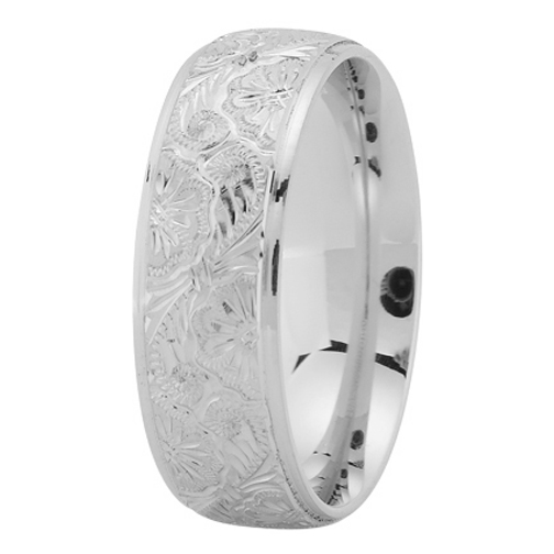 7mm Hand Engraved Men's Wedding Ring in Platinum