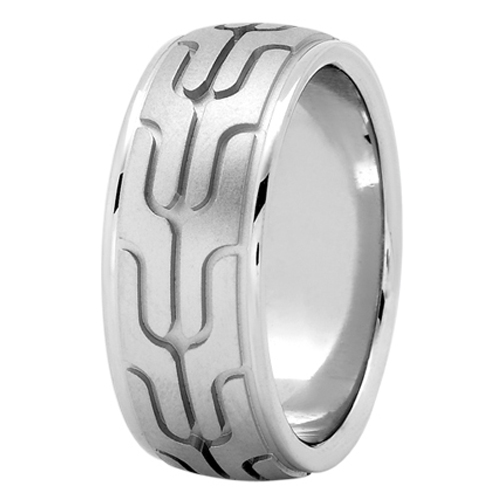 Maserati Tire Tread Men's Wedding Ring in White Gold 8.5mm