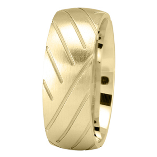 Super Cycle Tire Tread Men's Wedding Ring in Yellow Gold  8mm
