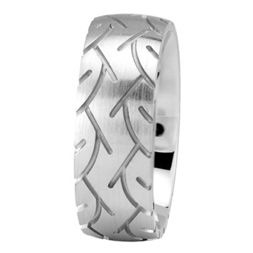 8mm Tire Tread Men's Wedding Ring in White Gold