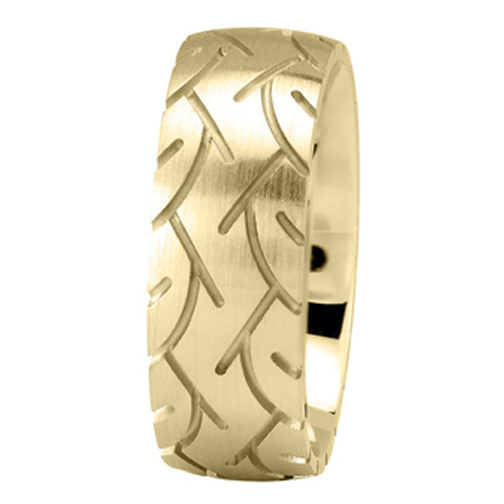 8mm Tire Tread Men's Wedding Ring in Yellow Gold