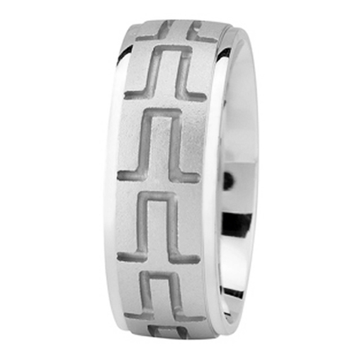 Tire Tread Men's Wedding Ring in White Gold 8mm
