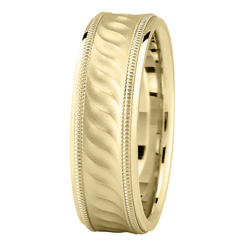 Yellow Gold Milligrain Wave Wedding Band for Men