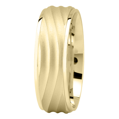 Yellow Gold Wave Wedding Band for Men