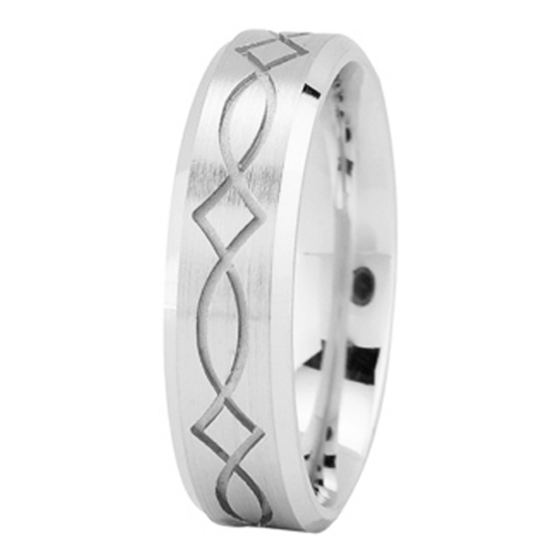 Ichthys Mens Wedding Ring in White Gold 6mm