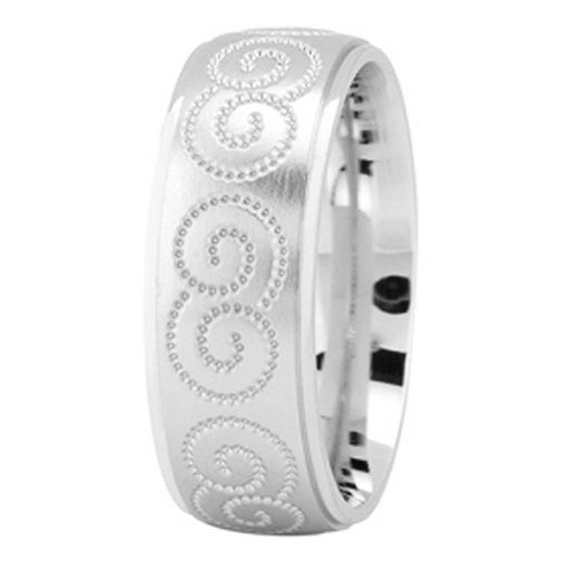 Palladium Engraved Infinity Wedding Ring