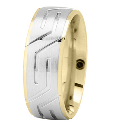 White and Yellow Gold Superman Wedding Ring