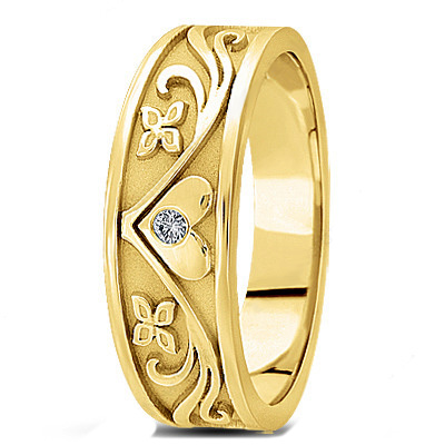 Engraved Diamond Floral Wedding Band for Men in Yellow Gold