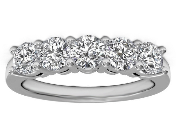 Five Stone Diamond Wedding Ring 0.75 carat TW