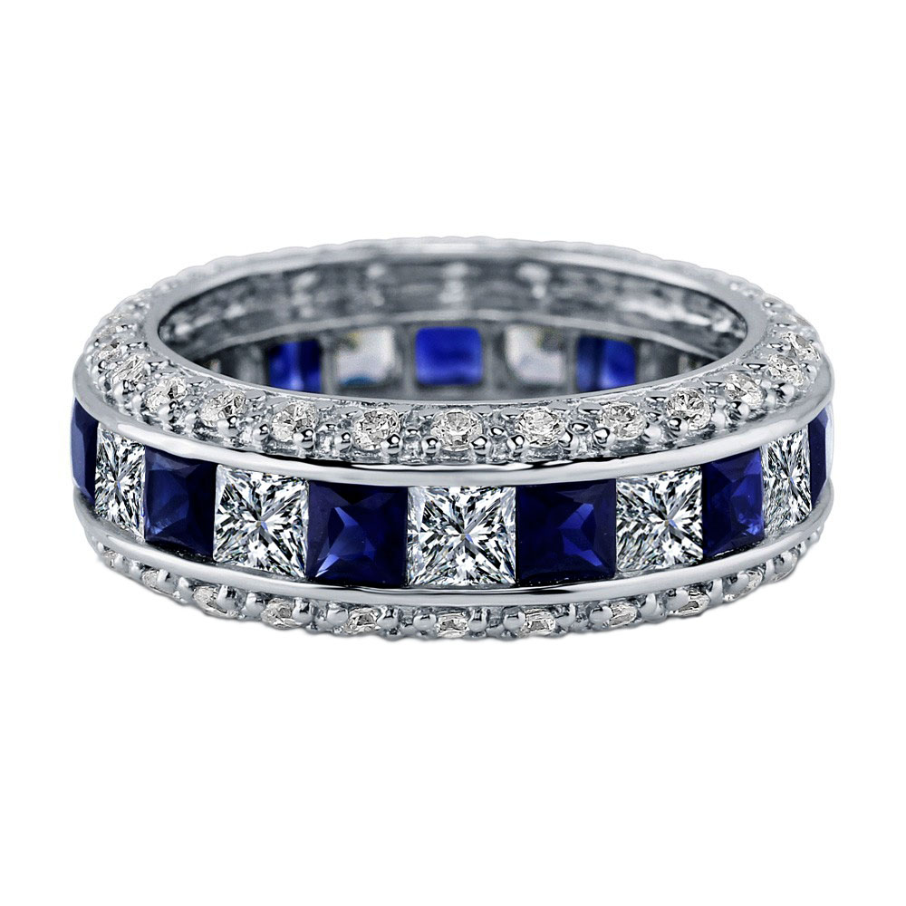 Princess Blue Sapphire & Diamond Wedding-Anniversary Ring 4.95 tcw in 14K White Gold