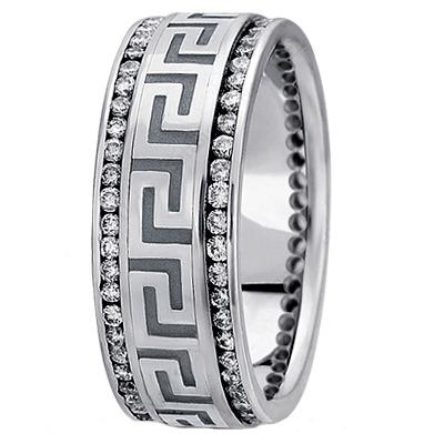 Greek Key Meander Men S Diamond Wedding Band In White Gold 9mm