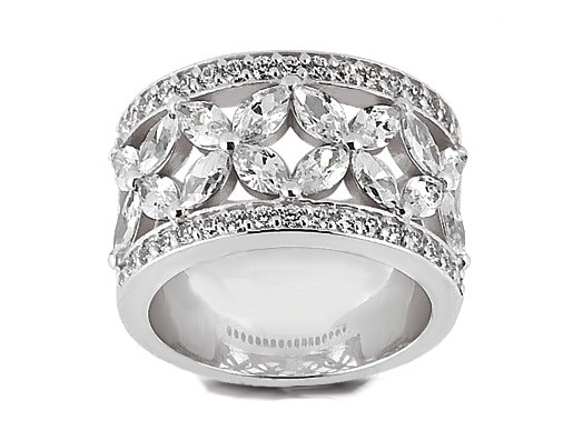 Floral Marquise Diamond Wedding Ring