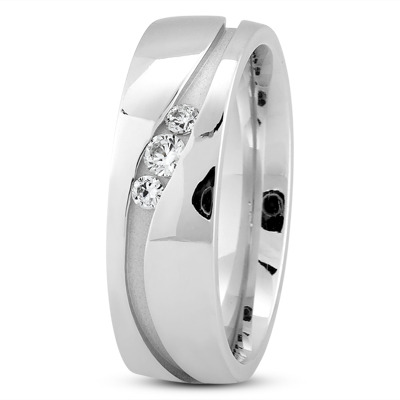 Round Diamond Channel Wave Platinum Wedding Ring