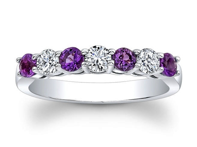 Seven Stone Round Diamonds & Amethyst Wedding Band 0.6 tcw. In 14K White Gold