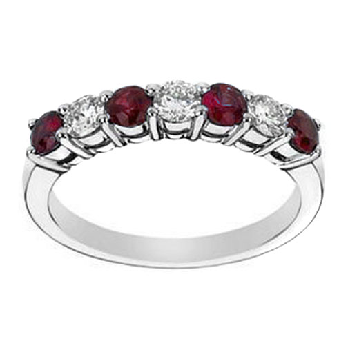 Seven Stone Round Diamond & Ruby 0.60 tcw. Wedding Band In 14K White Gold