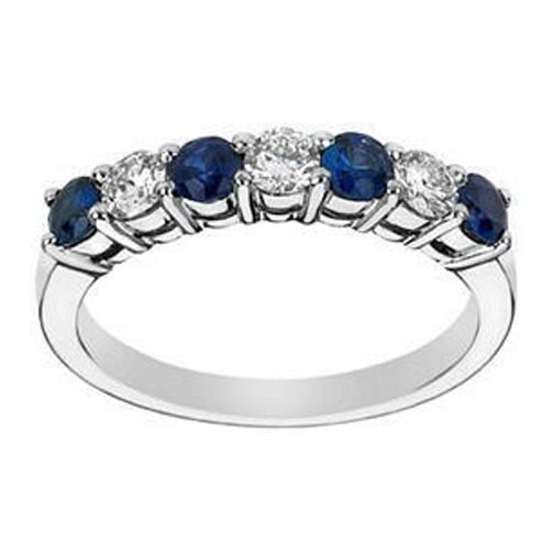 seven stone round diamond blue sapphire wedding band 060 tcw in platinum - Sapphire And Diamond Wedding Rings