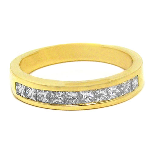 Ten Stone Princess Diamond Wedding Band 0.58 tcw. In 14K Yellow Gold