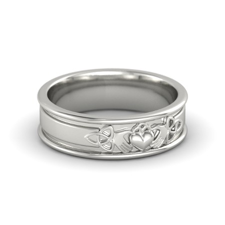 Claddagh and Celtic White Gold Ring
