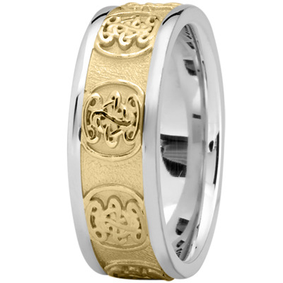 Engraved Celtic Mens Wedding Band in White and Yellow Gold