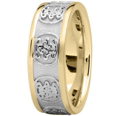 Engraved Celtic Mens Wedding Band in Two Tone Gold