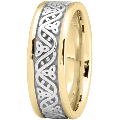 Celtic Wave Mens Wedding Ring in Two Tone