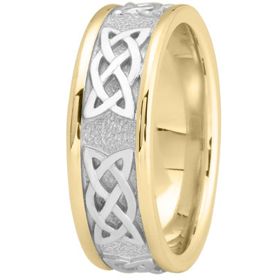 Celtic Mens Wedding Ring in Two Tone