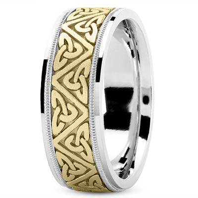 Celtic Mens Wedding Ring in Yellow and White Gold