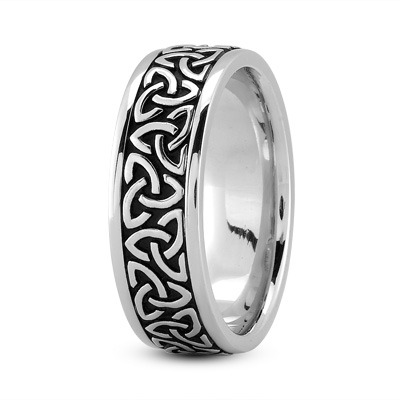 Celtic Mens Ring with Black Rhodium