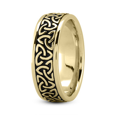 Celtic Mens Ring with Black Rhodium in Yellow Gold