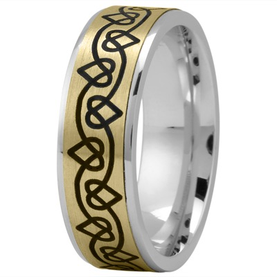 Celtic Mens Ring with Black Rhodium Hearts in Yellow and White Gold