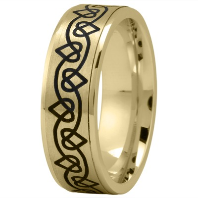 Celtic Men's Ring with Black Rhodium Hearts in Yellow Gold
