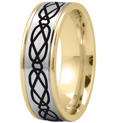 Celtic Mens Ring with Black Rhodium in Two Tone Gold