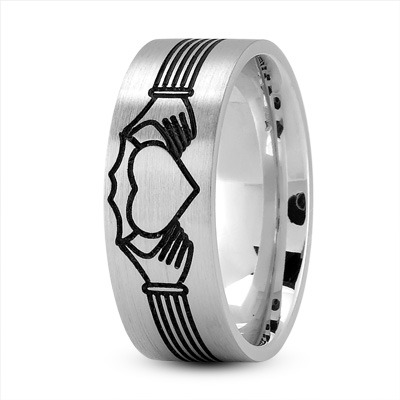 Claddagh Mens Ring with Black Rhodium
