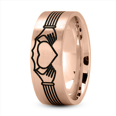 Claddagh Mens Ring with Black Rhodium in Rose Gold