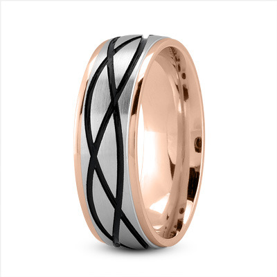 Celtic Mens Ring with Black Rhodium in Two Tone Rose Gold