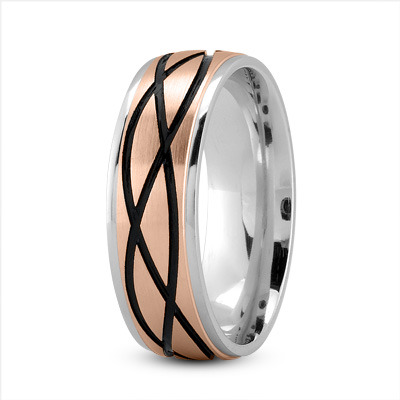 Celtic Mens Ring with Black Rhodium in White and Rose Gold