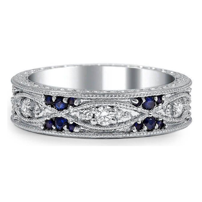 Swing Diamond & Sapphire Eternity Wedding Band