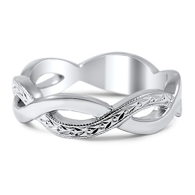 Intertwined Infinity Engraved Wedding Band