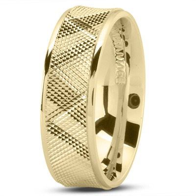 Diamond Cut Concave Men's Wedding Band in Yellow Gold