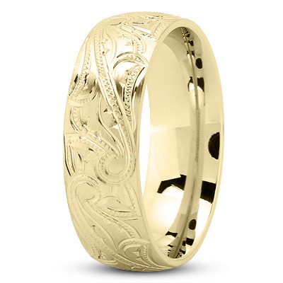 7mm Engraved Mens Wedding Band in Yellow Gold
