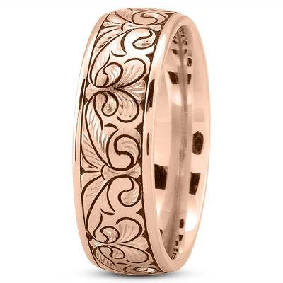 Fleur De Lys Engraved Men's Wedding Band in Rose Gold