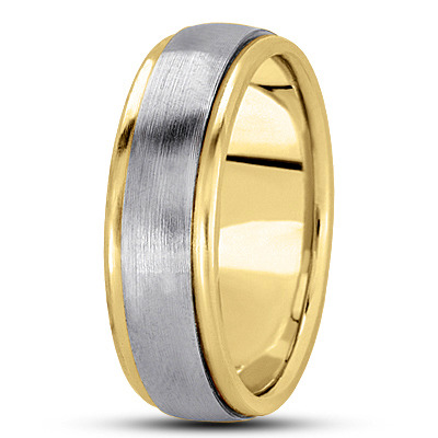 Two Tone Low Dome Multi Width Wedding Band