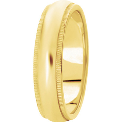 Domed Wide Milligrain Mens  Band in Yellow Gold