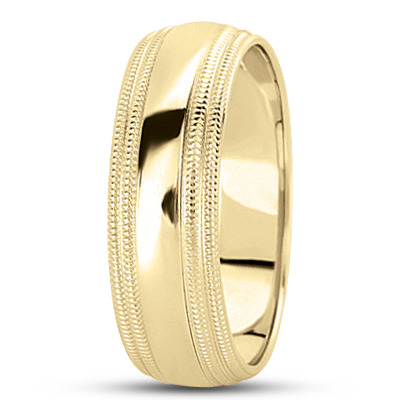 Double Milligrain Multi Width Wedding Band in Yellow Gold